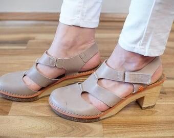 ART Sandals Heels Vintage Art Shoes Wooden Soles EU40 UK6 1/2 US9