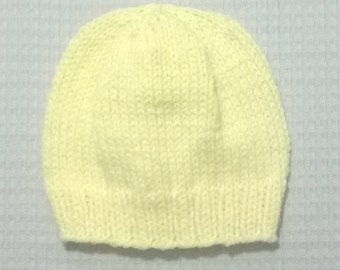 Hand Knit Baby Hat ~ 6-12 Months ~ Yellow