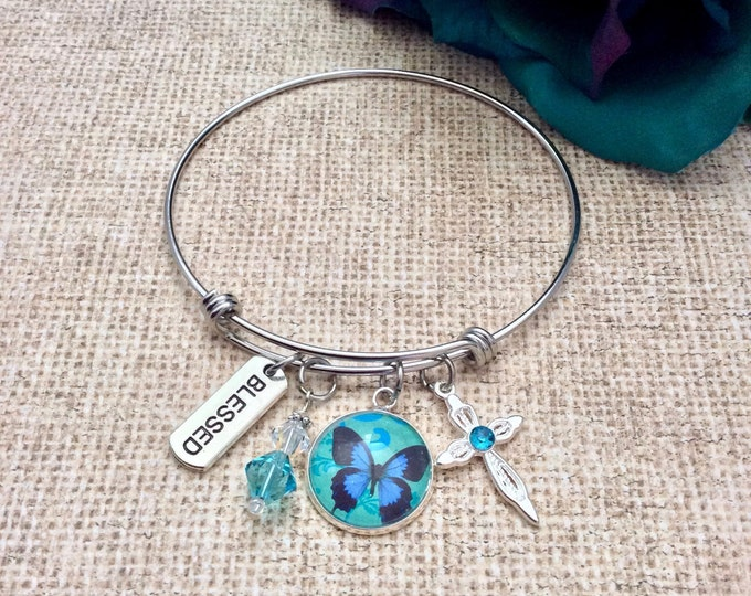 Blue Butterfly Bangle Bracelet, Swarovski Crystal Bracelet, Christian Gifts,  Charm Bracelet, Faith Jewelry, Inspirational Bracelet
