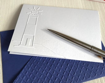 Lighthouse Note Cards (No.26) - Pack of 6 White Blank Cards. Embossed Cards. Lighthouse Cards, Nautical Theme, Sailor Cards, Cards for Men