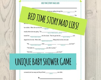 Bed Time Story Mad Libs   Baby Shower Game   Unique Baby Shower Activity    Lime