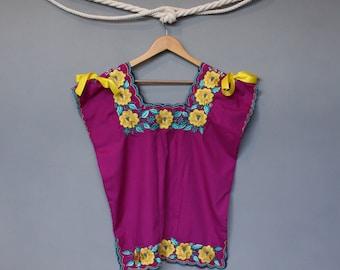 Josefa Blouse - Embroidery - Mexican - Handmade - Purple -