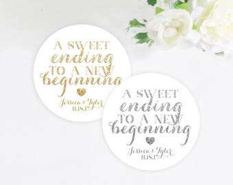 A Sweet Ending to a New Beginning Wedding Favor Sticker, Gold Glitter, Silver Glitter, Favor Stickers, Mint to Be, Wedding Stickers, 2 inch