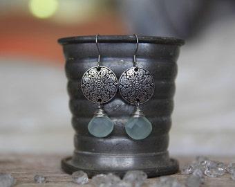 Mandala Aqua Chalcedony Earrings