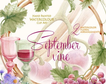 Watercolor Vine Clipart Grape Vine Autumn Wine Label Wedding Invitation DIY Watercolor Handpainted Graphics Floral Scrapbooking Planner
