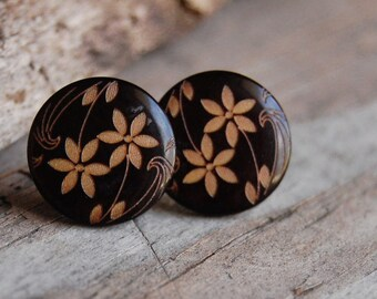 Brown with Gold Toned Floral Pattern Stud Earrings