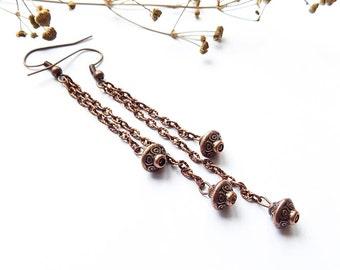 dangle earrings chain earrings Greek style earrings Antique earrings chandelier earrings copper earrings metal earrings elegant earrings