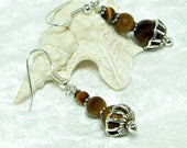 Tiger Eye Earrings | Dangly Earrings | Tiger Eye Jewellery | Earring Gift Idea | Brown Gemstone Earrings | Bali Sterling Silver | A0277