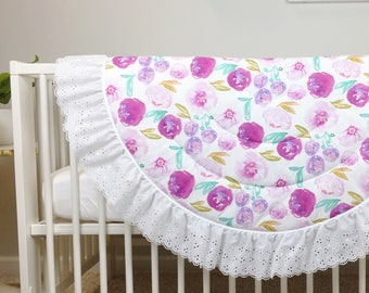 Baby Play Mat - MADE TO ORDER - Purple Floral / Lavendar Floral Round Fringe Play Mat / Padded Playmat / Tummy Time Mat / Activity Mat