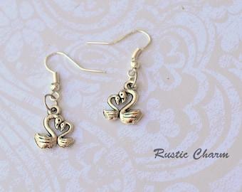 Mother and Baby Swan Hook Dangle Earrings