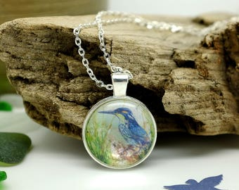 Kingfisher, Bird Necklace, Handmade Jewelry, Gifts for Women, Wildlife Jewellery, Silver Necklace, Nature Lover Gift, Blue Necklace