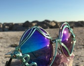 TuRQuoiSe BLUE Round Glasses / Wire Wrapped Sunglasses / Unisex Mens Women's l Small Lenses Eyeglasses Sun glasses Eyewear l FREE Shipping