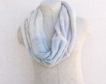Knit infinity cowl / Loop scarves / Blue boho scarf / Chunky knit scarf / Autumn silky shawl / Knit circle scarves - Snow 3