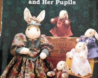 """English Governess and Her Pupils, Governess bunny, pupil bunnies, Gooseberry Hill, 15"""" Governess bunny, 6"""" bunnies tha sit or stand"""