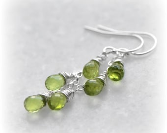 Silver Peridot Earrings, Peridot Dangle Earrings, Leaf Green Earrings, Gift for Her, Gemstone Earrings, Green Dangle Earrings, by Blissaria