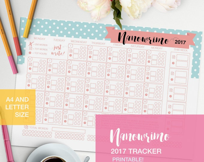 Featured listing image: Nanowrimo word tracker 2017 v4