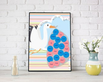 Baby Gender Reveal Voting Game | Stork | Baby Shower Guest Sign In | Cast Your Vote | Boy or girl | Balloon Voting