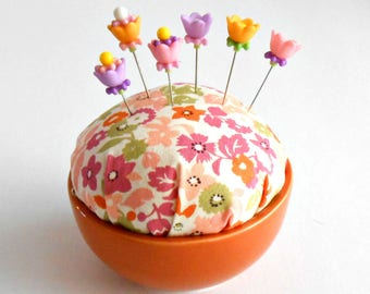 Pincushion - Pin Keep - Gift for Quilters - Pin Cushion - Sevenberry Petite Garden fabric - Decorative Sewing Pins - Kaufman fabric