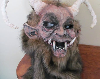 KRAMPUS Handcrafted Original Creature Mask Haunted House Prop