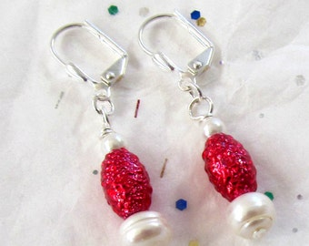 Valentine's Day Jewelry - Red Bead & Pearl Earrings - Dangle Red and White Earrings -  February Gift Idea - Romantic Feminine Earrings