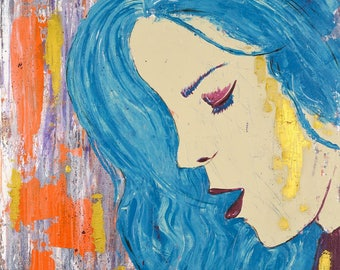 Original paintings - woman / acrylic 100 x 100 cm