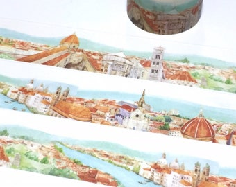 florence italy landscape washi tape 5Mx 3cm fairy tale european landmark Red building historical city scenes sticker wide tape decor gift
