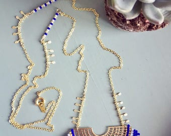 "Capsule collection ""Majorelle Garden"": necklace with miyuki beads and gold pendant"