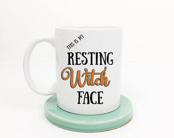 This Is My Resting Witch Face Halloween Coffee Mug, Funny Coffee Mug, Gift for Her, Halloween Birthday