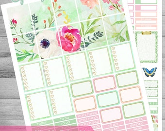 Printable planner stickers, Watercolor floral stickers, use with Erin Condren, weekly theme kit, Cutfiles stickers, butterfly, garden, rain