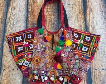 Banjara bag, Bohemian handbag, Vintage embroidered bag, Vintage bag, Tribal bag, Boho tote bag, Gypsy bag, Bohemian bag.
