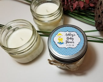 12 - 4 oz Personalized Baby Shower Favors - Baby Shower Gifts - Soy Candle Favor - Baby Boy Shower - Baby Shower Prizes - Thank You Gifts