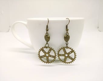 Steampunk Earrings with Cogs and Hearts