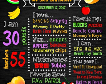 Fruits Birthday Chalkboard Poster - Watermelon Apple Orange Peach Banana Wall Art design - Birthday Party Poster Sign - Any Age