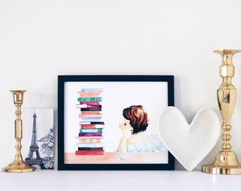 Bookworm Print, Watercolor Print, Fashion Illustration, Art Print, Home Decor, Office Decor, Booklover Gift, Bookworm Gift, 10x8