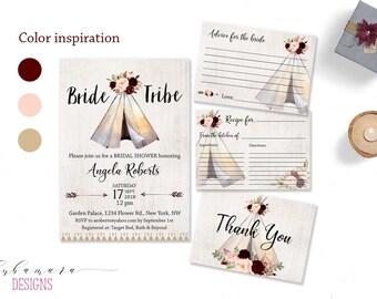 Bride Tribe Bridal Shower Invitation Tribal Teepee Invite Burgundy Pow Wow Aztec Bridal Invite Boho Arrows Tipi Shower Invitation - BS003