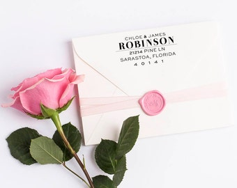 Custom Return Address Stamp, Self Ink Return Address Stamp, Wedding Return Address, Calligraphy Address Stamp Return Address Stamp No 111