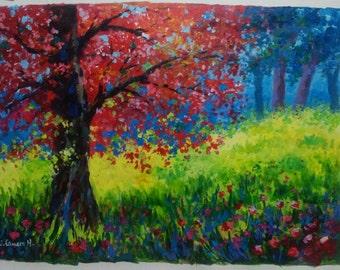 Landscape. Original acrylic on canvas 36' x 25' (92 x 65 cm)