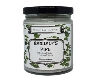 Gandalf's Pipe - Pipe Candle - 8 oz Soy Candle - LOTR Candle - Scented Candle - Scented Soy Candle - Book Candle - Pipe Smoke - Gift For Him