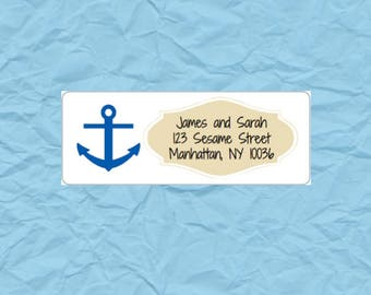 30 Custom Return Address Labels Printed (SET OF 30) rectangular 2 5/8 x 1 inch label, sticker, wedding announcements, navy anchor tan