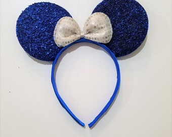 Minnie Mouse Ears- Blue Glitter Ears, white bow