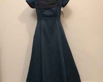 90's 40's Inspired Green Draped Front Open Back Prom Dress with Short Sleeves | Cap Sleeve | Open Back | Cowl Front | Vintage Michelangelo