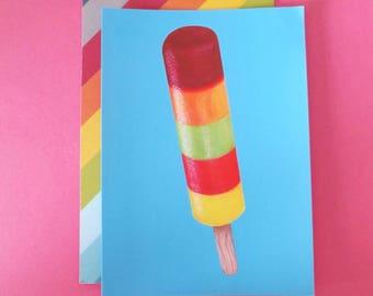 Ice Lolly Retro Summer Illustrated Art Postcard/Mini Print A6