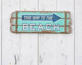 This Way to the Beach Sign - Weathered Wood Signs - Beach House Signs - Rustic Beach Decor - Coastal Decor - Coastal Decor Beach - Cottage