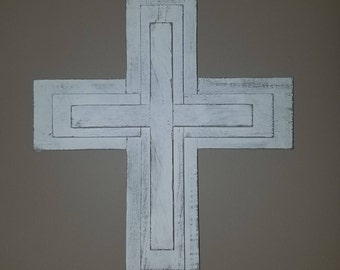 Rustic Whitewashed Cross