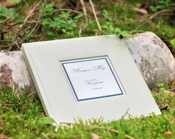 Ivory Wedding Guest Book - Luxury Personalised Wedding Guest Book - High Quality Guest Book - Guest Book With Box, Classic Guest Book