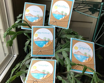 Mountain Scene or Tropical Beach All Occasion 5-Card Set, Mountains or Beach, Evergreens or Palm Trees, Waterfront, Sun