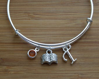 Librarian Gift, Book Bangle, Book Lover Gift, Librarian Bracelet, Birthday Gift, Book Charm Bangle Bracelet, Initial Bracelet, Personalized
