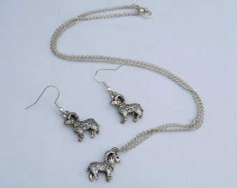 Aries goat necklace and earrings set, sterling silver goat earrings, gift for her, animal earrings, ram jewellery set