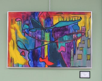 """Framed Abstract Painting """"Extinct"""""""