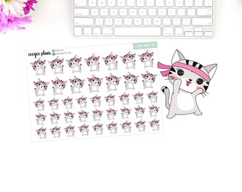 Cora Works Out | Cora the Cat | 41 Exercise Planner Stickers